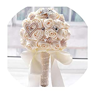 in Stock Stunning Wedding Flowers White Bridesmaid Bridal Bouquets Artificial Rose Wedding Bouquet 65