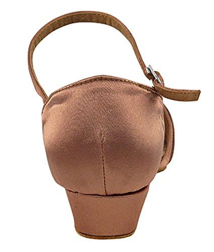 Very Fine Ballroom Salsa Practice Dance Shoes for Women 1720FT 1-Inch Heel + Foldable Brush Bundle Tan Satin xoGlqO8