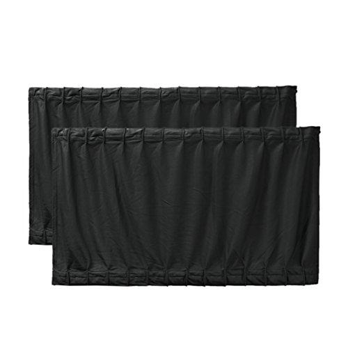 uxcell 2 Pcs 70 x 39cm Black Adjustable VIP Car Window Curtain UV Sunshade Visor