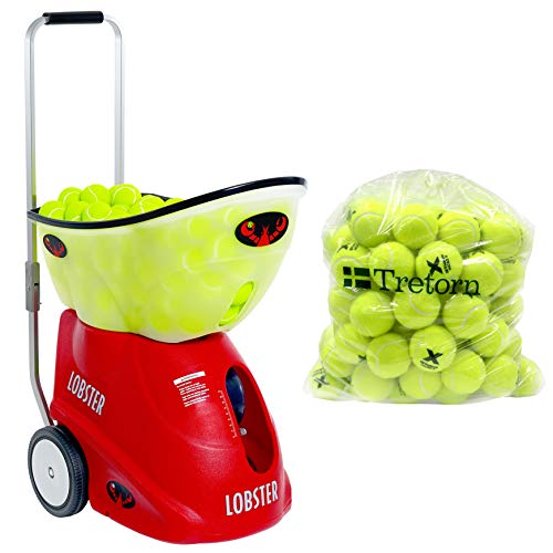 Lobster Sports - Elite Grand Four with 72 Micro X Tennis Balls- Battery-Powered Tennis Ball Machine - Grinder Drill - Six Pre-Loaded Drills - Fully Random Oscillation - 2-Line Feature -