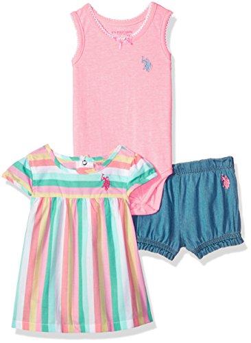 U.S. Polo Assn. Baby Girls Knit Top, Bodysuit and Short Set Pants