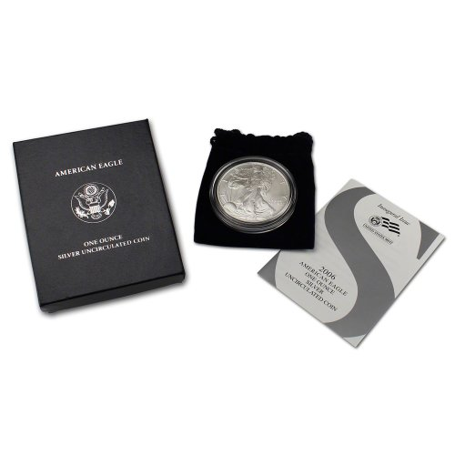 2006 W American Silver Eagle Uncirculated Collectors Burnished Coin $1 OGP US (2006 Silver American Eagle Coin)