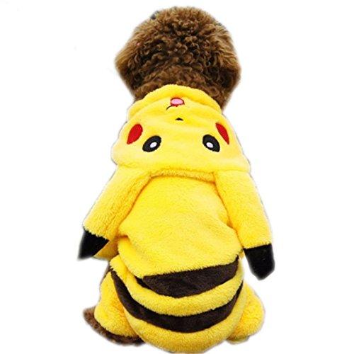 FEESHOW Perro Ropa Linda De Pokemon Pikachu Dibujos Animados Disfraces De Abrigo De invierno Cachorro Gato Mascota Nuevo Amarillo M