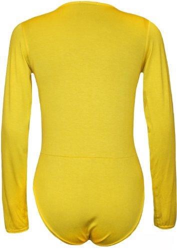 WearAll Women's Wrap V Neck Long Sleeve Bodysuit Top - Yellow - US 8-10 (UK 12-14)