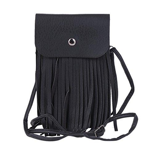 Trendy Tassel Messenger Bag Black - 9