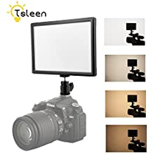 High Power Ultrathin Dimmable LED Video/Photo Light Panel Adjustable Brightness Color Temperature 3200K-6200K with Hot Shoe Mount for DSLR Cameras Camcorders DV Light Stands Tripods