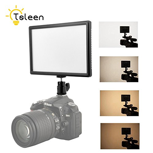 High Power Ultrathin Dimmable LED Video/Photo Light Panel Adjustable Brightness Color Temperature 3200K-6200K with Hot Shoe Mount for DSLR Cameras Camcorders DV Light Stands Tripods by YCDC