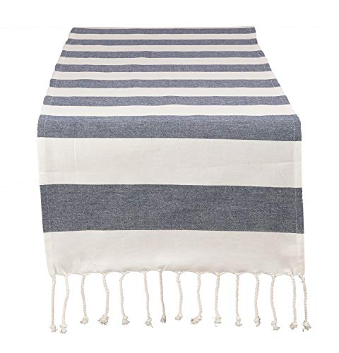 - Fennco Styles Cabana Collection Nautical Striped Tassel 100% Pure Cotton 16 x72 Inch Table Runner - Navy Blue Table Runner for Wedding Banquets, Family Dinner, Special Events and Home Décor