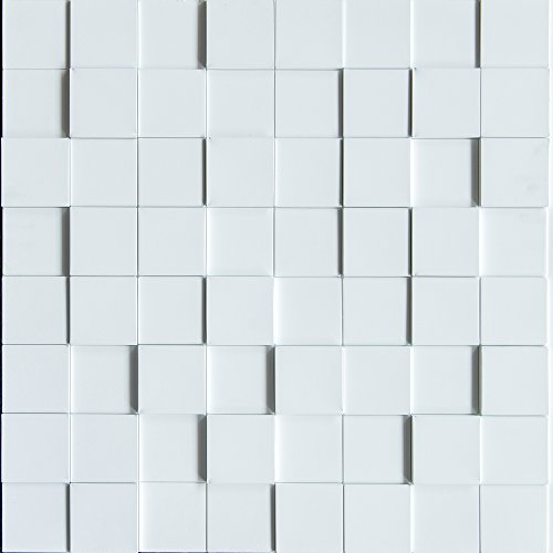 Decorative Wall Textures - Harmony Cubes PVC Thermoplastic 3D Wall Panels - Decorative Luxury Interior Design Wall Paneling Decor Commercial And Residential Application 2' x 2', 4 sq ft (Snow White)