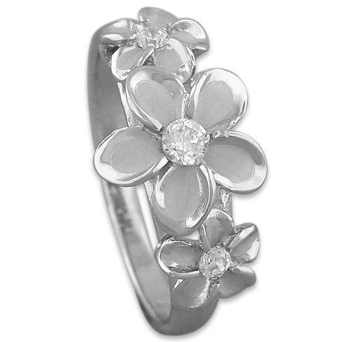Ring Flowers Hawaiian (Sterling Silver Hawaiian Three Plumeria Ring Size 5)