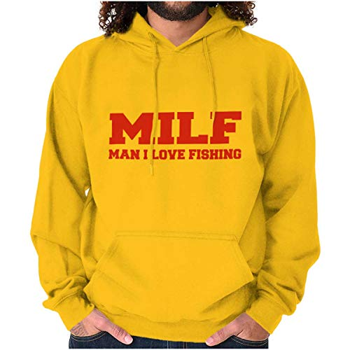Milf Love Fishing Fisherman Funny Angler Hoodie Gold