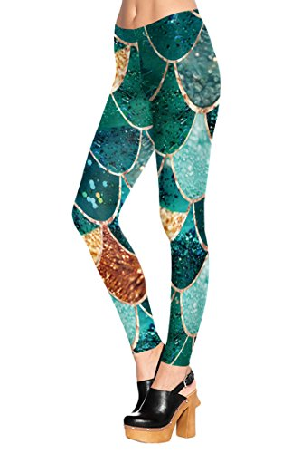 COCOLEGGINGS Womens 3D Digital Print Stretch Summer Ankle Length Leggings