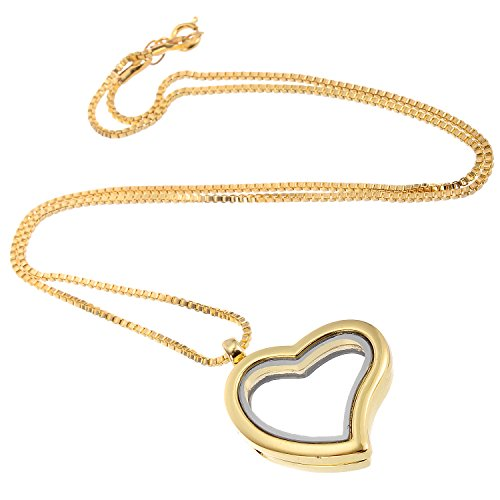 RUBYCA Living Memory Floating Charm Heart Glass Locket Pendant Necklace 20 Inches 1pcs Gold Color