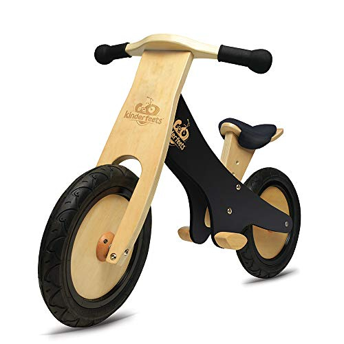 KinderfeetsClassic Chalkboard Wooden Balance Bike, Kids Training No Pedal Balance Bike, Black