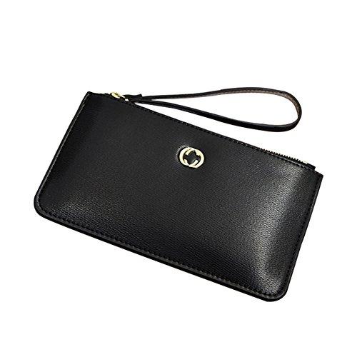 Purse Wrist Wristlet Holder Kukoo Ultra Zipper Women Clutch Black Strap Wallet Phone Thin OOwP0x8q