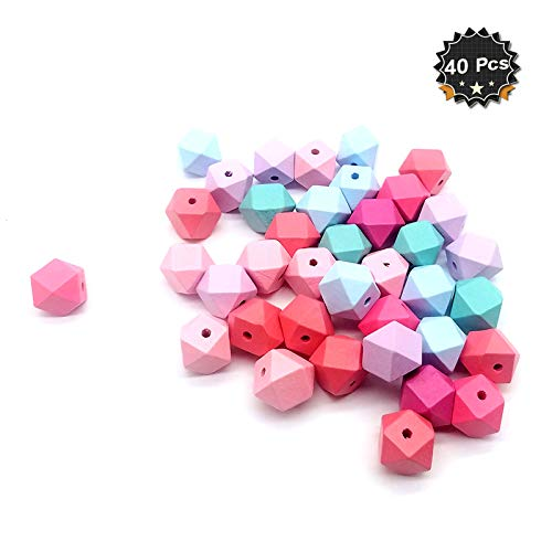 40 Pcs Candy Colors Geometric Wooden Beads 16 Face Wood Ball for DIY Craft Jewelry Making Kids Toys, 0.78 -