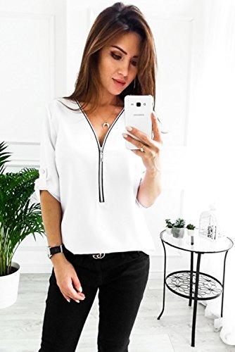 Casual Top 3 Col Chemisier Femmes Blanc 4 Chemise ORANDESIGNE Blouse V Shirt Zipp Manche t T vpPCq