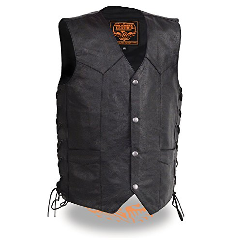 - Milwaukee Leather Boy's Youth Size Leather Side Lace Biker Vest-BLACK-24 (Black, 24