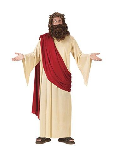 FunWorld Men's Jesus Adult Costume with Crown and Beard, Multi, -
