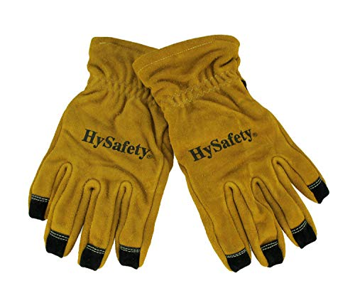Hysafety Cowhide Leather Reinforced Palm Structural Firefighter Gloves (Best Structural Firefighting Gloves)