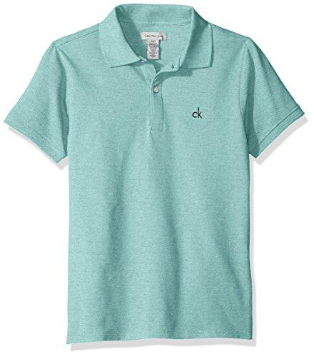 Calvin Klein Boys' Big Solid Pique Polo, AQUAHT, Medium - Micro Boys Shirt