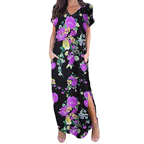 Floral Maxi Dresses for Women,ONLYTOP Women's Casual Loose Pocket Long Dress Short Sleeve Split Maxi Dresses