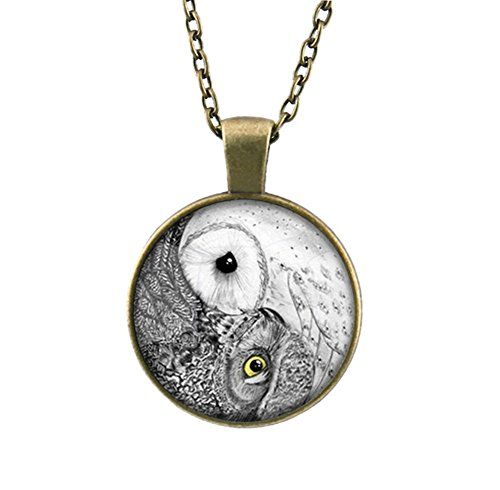 Vintage Owl Necklace (DELEY Vintage Long Bronze Chain Yin Yang Handmade Glass Cabochon Dome Pendant Statement Necklace Owl)