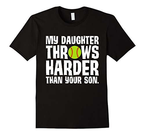 Men's Daughter Throws Harder Than Your Son Softball T-Shirt 2XL Black (Sexy Softball Player)
