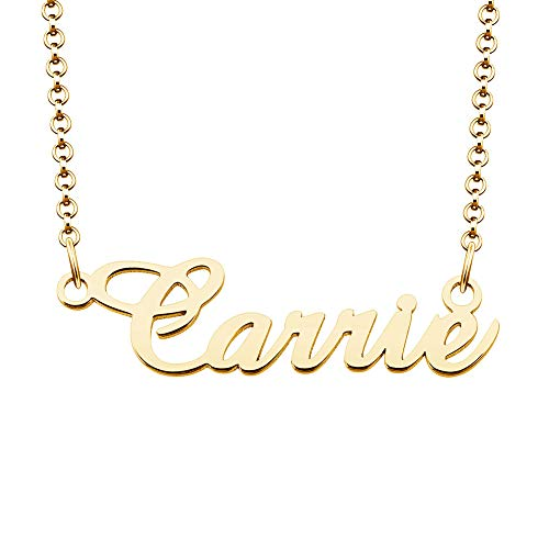 925 Real Silver Personalized Name Necklace Gold Plated 24k Custom Nameplate - Carrie Necklace