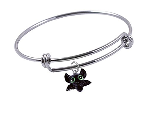 65 mm, Expandable Bangle bracelet Halloween Vampire Bat Charm, Qty:1 (Expandable Bat)