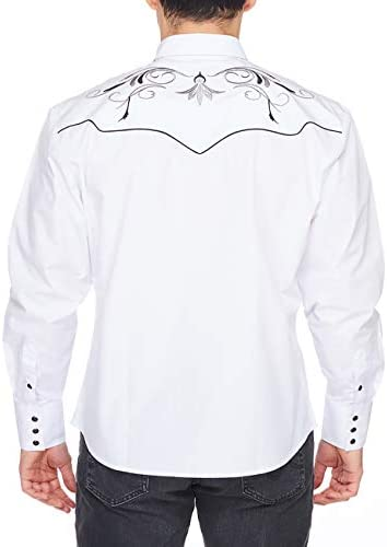 41l7wmlTTGL. AC RCCO RODEO CLOTHING COMPANY Men's Embroidered Western Inspired Long Sleeves Button Down Dress Shirt    Machine WashWestern Style - Regular fit dress shirts with Embroidery will work wonderfully well when worn with a pair of jeans and boots. This will add a touch of genuine western vibe to your everyday look. (If you want a more loose shape, we recommend going a size up)Unique Design - The tenderness and solid cotton blend fabric makes you stay comfortable and breathable when wearing for all day. The collar lining, inner cuff and the embroideries on the front and back are in a contrast pattern. Fine western fashion design make these dress shirts eye catching.Trusted Brand - For the man who owns his style, RCCO RODEO CLOTHING COMPANY proudly pushes the boundaries of men's western button down shirts, for a powerful look that gets noticed and embodies western individuality.Most Occasion - The western dress shirts are suitable for sport, casual, work, date, party, holiday and others. That is always appreciated as a gift, which is why it makes the perfect present for your Father, Husband, Brother, Sons and others.Guaranteed Service - All the size data are about garment measurements. If you have some confusions which size do you need, you can check the size chart below the product descriptions, or contact with us freely, we are ready at all times to serve you.