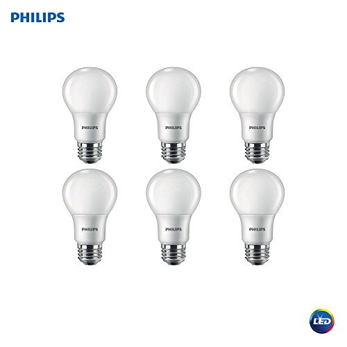 Philips LED A19 LED Classic Glass Non-Dimmable Light Bulb 800-Lumen, 2700-Kelvin, 7 (60-Watt Equivalent) E26 Base, Frosted, 6-Pack (Title 20 Compliant), Soft White, 6 Each ()