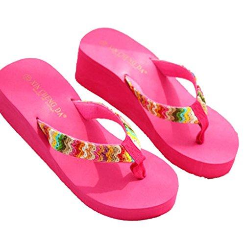 SKY Comfortable to wear it !!!Mujeres Sandalias de paja de color Platform Sandals Beach Flat Wedge Patch Flip Flops Lady Slippers Rosa caliente