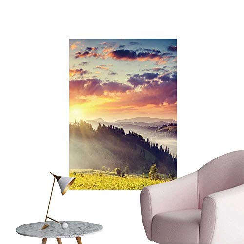 """Wall Decals Majestic Sunset in The Mountains Landscape Dramatic Sky Carpathian Environmental Protection Vinyl,32""""W x 56""""L"""