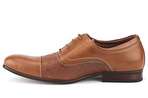Ferro Aldo Hombres 19507l Cap Toe Textured Pattern Formal Lace Up Oxfords Zapatos De Vestir Marrón