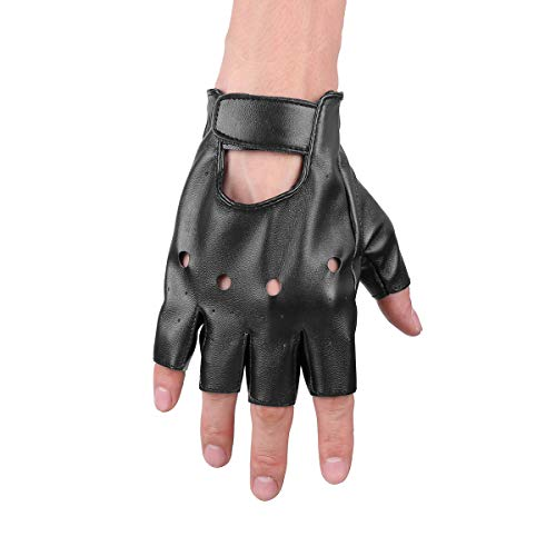 - IEFIEL Women Half Palm Fingerless Adjustable Faux Leather Night Bar Band Punk Performance Gloves Black#2 One Size