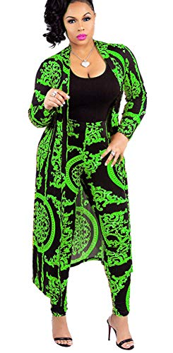 Womens Open Front Cardigan Outerwear Jacket and Pants 2 Piece Outfit Green 2XL
