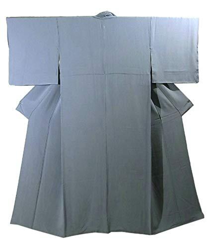 報告書やりすぎ踏みつけリサイクル 着物 色無地 一つ紋 ブルーグレー 裄65.5cm 身丈151cm 正絹 袷