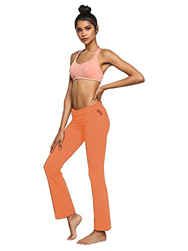 Active Basic Women's Fold Over Low Rise Cotton Blend Yoga Long Pants Peach Medium Peaches Low Rise Pants