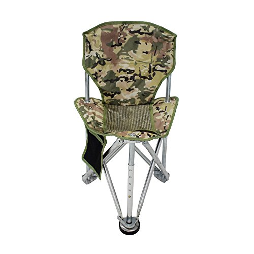 Geertop Folding Tripod Camping Chair Stool with Back Rest Mesh Pocket Heavy Duty Steel for Backpacking Hunting Fishing or Boat Cabin (Camouflage)