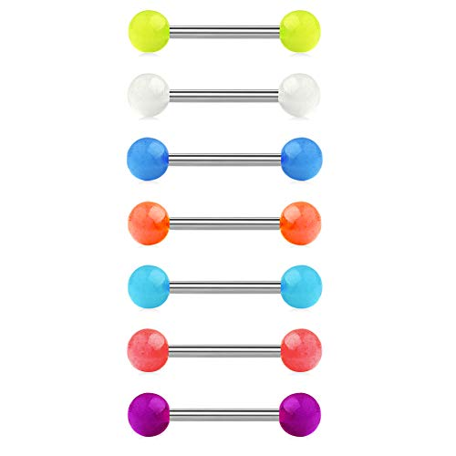 JFORYOU 14G Glow in The Dark Acrylic Balls Stainless Steel Straight Bar Tongue Nipple Rings Piercing Jewelry 7 Pcs-14mm - Mix Color