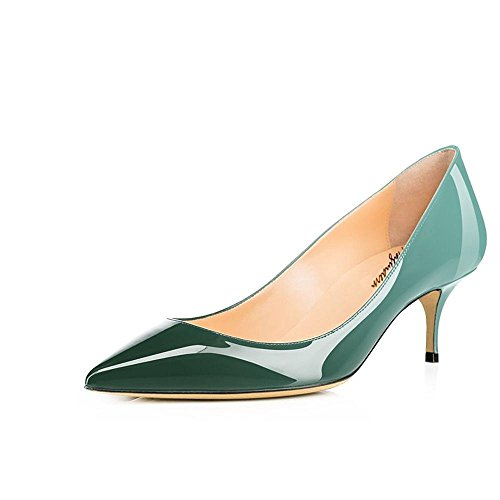 Maguidern Women's Emerald Green Patent Leather Pointed Toe 2 1/2 inches Mid-Heels Working Pumps Evening Party Stiletto Shoes Size 9 M US