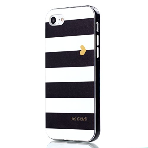 Shiny Black Stripe - iPhone 7 Case, Shiny Gradual Silver White Marble Design, AIIYG DS Matte Bumper TPU Soft Rubber Silicone Cover Phone Case for Apple iPhone 7 & iPhone 8 [4.7 inch] (Stripe Black / White)
