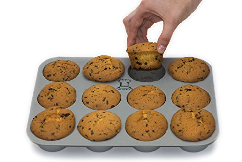 BackeFix - Silikon Muffinblech - einfach zufrieden sein ★ ohne Fett und Papier backen ★ beliebtestes Silikon Muffinform ★ Antihaft-Beschichtung | 2 Jahre Garantie | Silikon Muffinform (12er)