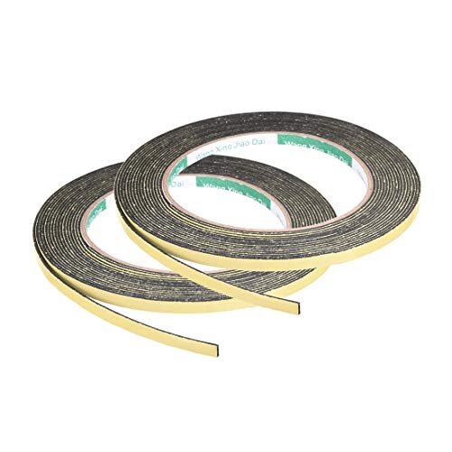 uxcell Foam Seal Tape, 5mm Wide 1mm Thick 16.4 Feet Long Adhesive Weather Strip 2pcs