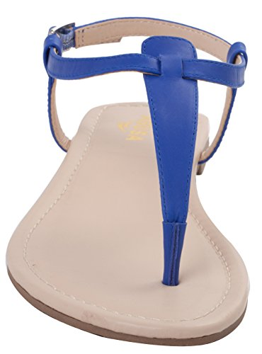 Leather Sandals Womens Shoes Sandals ABUSA Suede Leather Foldable Blue 5I6xqW1wA