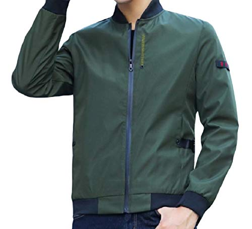 XINHEO Green Men's Plus Stand Casual Long Zip Collar Size Splicing Coat Sleeve Outwear rpAqr7wR