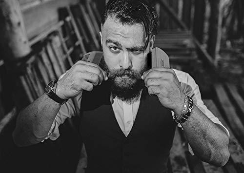 Kit de cuidado de la barba Brocha para barba Peine de tijeras de la talladora Juego de afeitar para hombres Kit para el cuidado del bigote Peine de madera ...