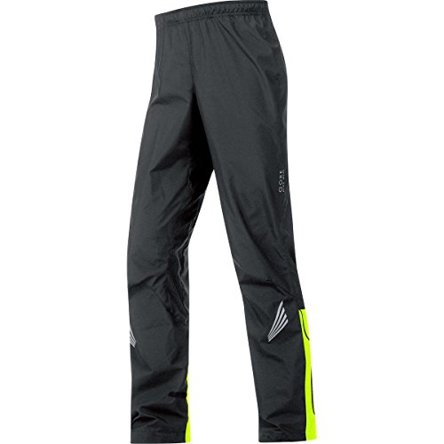 GORE BIKE WEAR Men's Long Cycling Rain Overpants, GORE WINDSTOPPER, ELEMENT WS AS Pants, Size M, Black/Neon Yellow, PWELEM (Touring Overpants)