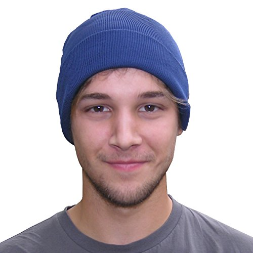 Silk Knit Beanie by Royal Silk - Navy Blue - 75% Silk 25% Cotton - Large ()